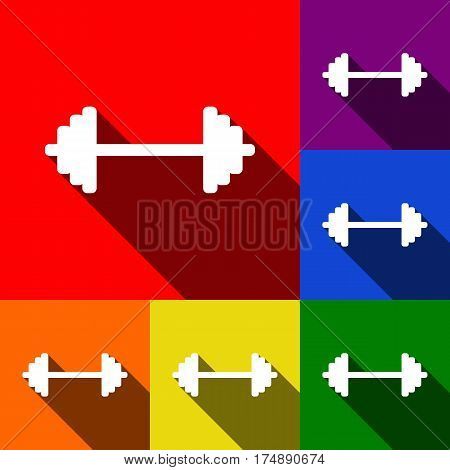 Dumbbell weights sign. Vector. Set of icons with flat shadows at red, orange, yellow, green, blue and violet background.