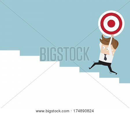 businessman and dartboard running up stairs business concept vector illustration
