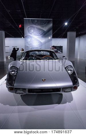 Los Angeles CA USA -- March 4 2017: Silver 1964 Porsche 904 Carrera GTS from the collection of Don and Carol Murray at the Petersen Automotive Museum in Los Angeles California United States. Editorial only.
