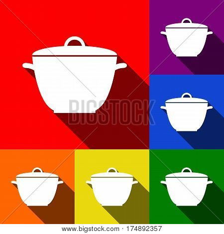 Saucepan simple sign. Vector. Set of icons with flat shadows at red, orange, yellow, green, blue and violet background.