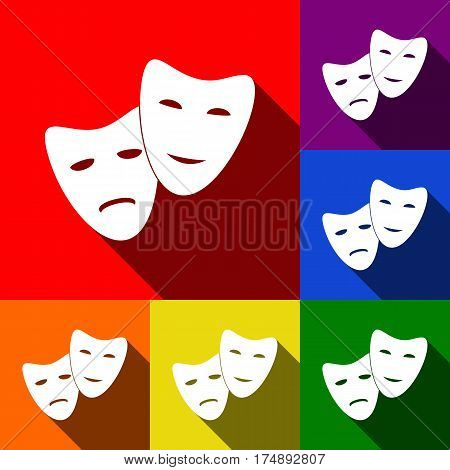 Theater icon with happy and sad masks. Vector. Set of icons with flat shadows at red, orange, yellow, green, blue and violet background.