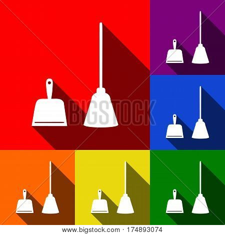 Dustpan vector sign. Scoop for cleaning garbage housework dustpan equipment. Vector. Set of icons with flat shadows at red, orange, yellow, green, blue and violet background.