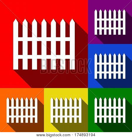 Fence simple sign. Vector. Set of icons with flat shadows at red, orange, yellow, green, blue and violet background.