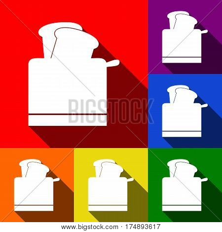 Toaster simple sign. Vector. Set of icons with flat shadows at red, orange, yellow, green, blue and violet background.