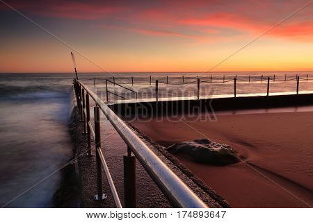 Sunrise At Newport Beach Rock Pool Australia
