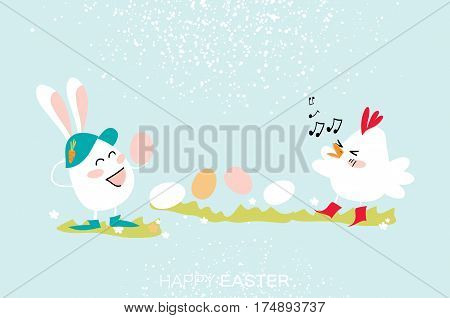 Cute Bunny and Chick singing witn Egg dancing - little farm animal. Funny Bunny. Happy Easter Greeting card. Space for text. Vector illustration.