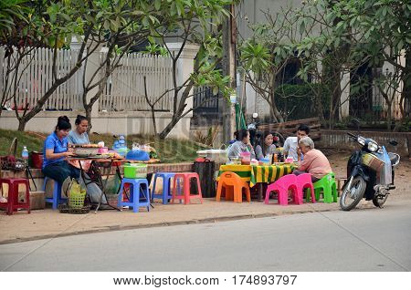 Local Restaurant Of Laotian People Sale And Eat Food On Street