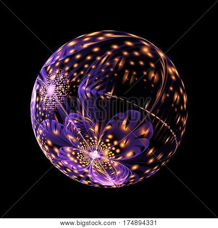 Abstract Ornamented Sphere With Flowers And Glowing Sparkles On Black Background. Fantasy Fractal De