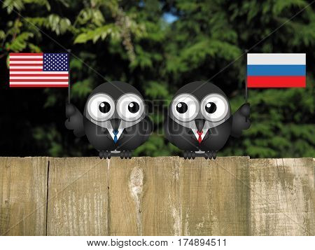 Comical American and Russian political leaders with national flags