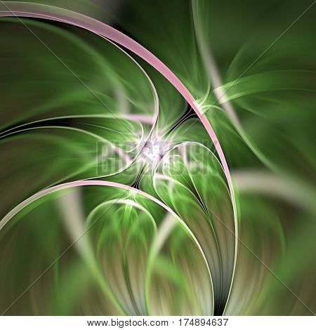 Abstract Exotic Flower. Psychedelic Asymmetrical Design In Green And Pink Colors. Fantasy Fractal Ar