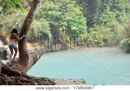 Traveller People Travel Tat Kuang Si Waterfalls In Luang Prabang, Laos
