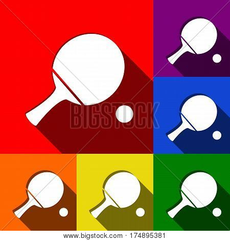 Ping pong paddle with ball. Vector. Set of icons with flat shadows at red, orange, yellow, green, blue and violet background.