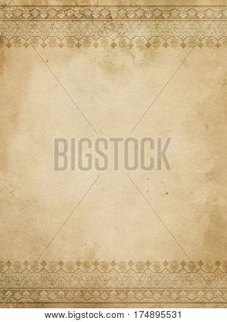 Aged yellowed paper background with decorative vintage borders. Vintage paper background for the design.