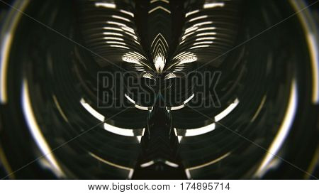 abstract tunnel loop. Black background. CG 3d render