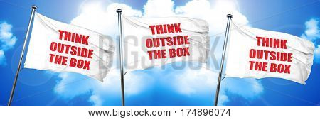 think outside the box, 3D rendering, triple flags