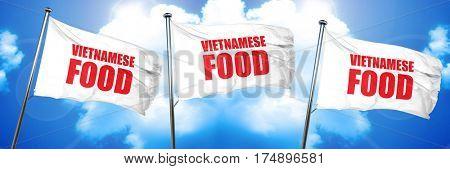 vietnamese food, 3D rendering, triple flags
