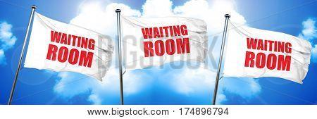 waiting room, 3D rendering, triple flags
