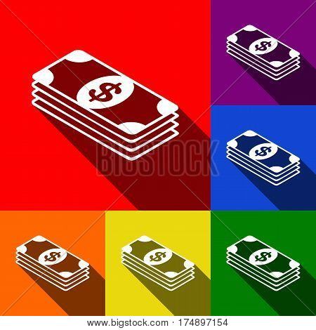 Bank Note dollar sign. Vector. Set of icons with flat shadows at red, orange, yellow, green, blue and violet background.