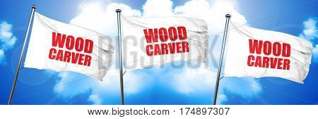 wood carver, 3D rendering, triple flags
