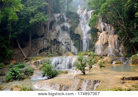 Motion Of Water At Kuang Si Falls