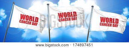 world cancer day, 3D rendering, triple flags