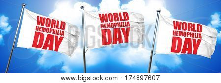 world hemophilia day, 3D rendering, triple flags