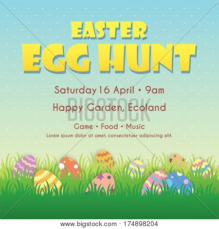 Easter egg hunt poster template design. Easter eggs on the meadow with blue sky as background.