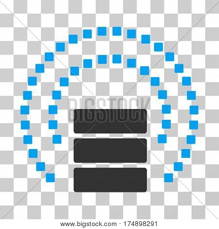 Database Sphere Shield icon. Vector illustration style is flat iconic bicolor symbol blue and gray colors transparent background. Designed for web and software interfaces.