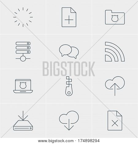 Vector Illustration Of 12 Web Icons. Editable Pack Of Document Adding, Privacy Doc, Delete Data And Other Elements.