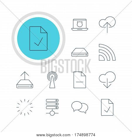 Vector Illustration Of 12 Network Icons. Editable Pack Of Waiting, Hdd Sync, Wireless Network And Other Elements.
