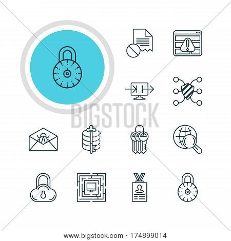Vector Illustration Of 12 Privacy Icons. Editable Pack Of Key Collection, Safeguard, Browser Warning And Other Elements.