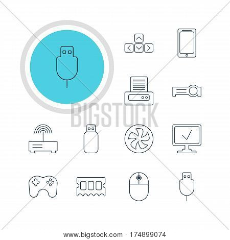 Vector Illustration Of 12 Computer Icons. Editable Pack Of Serial Bus, Printer, Router And Other Elements.