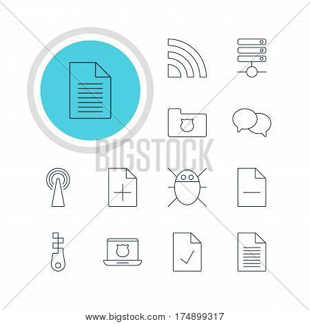 Vector Illustration Of 12 Web Icons. Editable Pack Of Talking, Wireless Network, Checked Note And Other Elements.