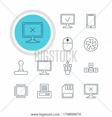 Vector Illustration Of 12 Computer Icons. Editable Pack Of Storage, Smartphone, Cooler And Other Elements.