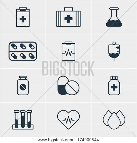 Vector Illustration Of 12 Health Icons. Editable Pack Of Experiment Flask, Medical Bag, Antibody And Other Elements.