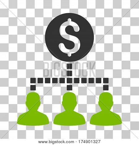 Money Recipients icon. Vector illustration style is flat iconic bicolor symbol eco green and gray colors transparent background. Designed for web and software interfaces.
