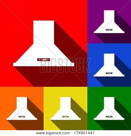Exhaust hood. Kitchen ventilation sign. Vector. Set of icons with flat shadows at red, orange, yellow, green, blue and violet background.