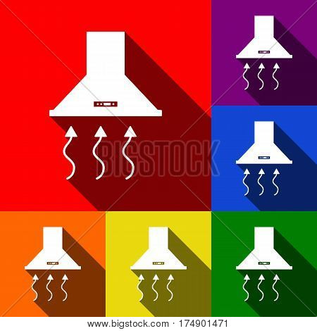 Exhaust hood. Range hood. Kitchen ventilation sign. Vector. Set of icons with flat shadows at red, orange, yellow, green, blue and violet background.