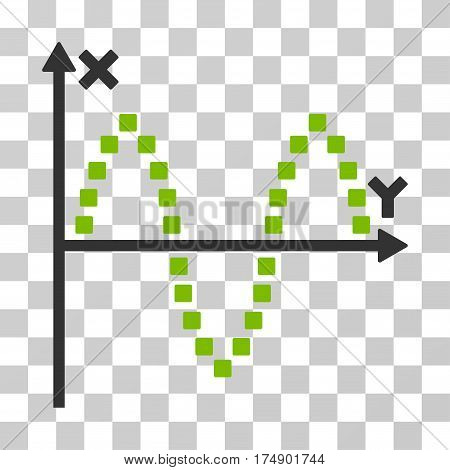 Sinusoid Plot icon. Vector illustration style is flat iconic bicolor symbol eco green and gray colors transparent background. Designed for web and software interfaces.