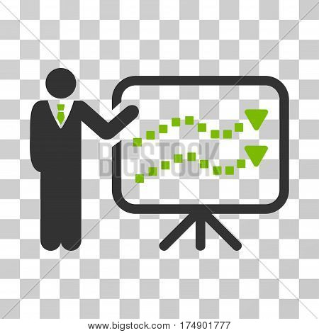 Trends Lecture icon. Vector illustration style is flat iconic bicolor symbol eco green and gray colors transparent background. Designed for web and software interfaces.