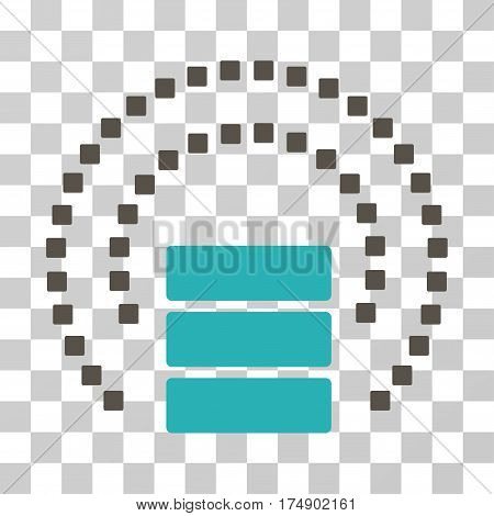 Database Sphere Shield icon. Vector illustration style is flat iconic bicolor symbol grey and cyan colors transparent background. Designed for web and software interfaces.