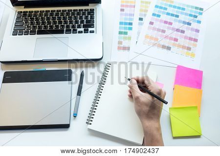 Hipster Modern Graphic Designer Drawing Working Home Using Laptop At Office