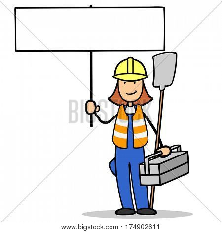 Woman as construction worker holding empty sign and tool box