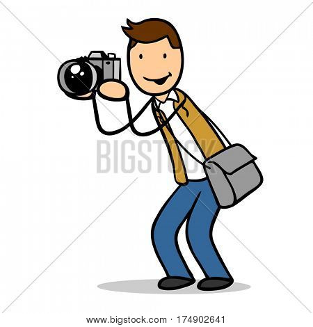 Cartoon of man as photographer with camera talking pictures