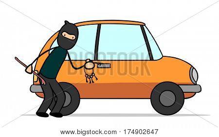 Car thief stealing car with keys