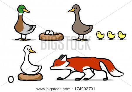 Fox duck goose and chicks illustration pack
