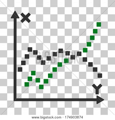 Functions Plot icon. Vector illustration style is flat iconic bicolor symbol green and gray colors transparent background. Designed for web and software interfaces.