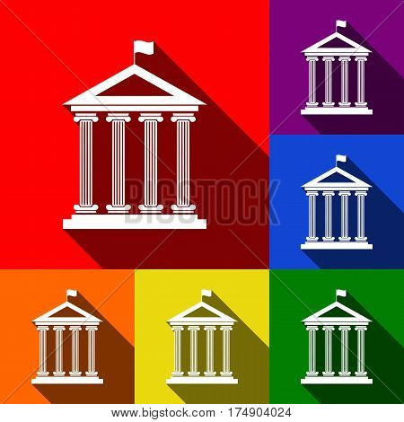 Historical building with flag. Vector. Set of icons with flat shadows at red, orange, yellow, green, blue and violet background.