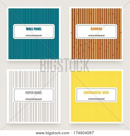 Vector set of four vertical material textures: wall panel, bamboo,paper wave, corrugated iron.Card Templates.