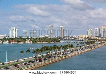 Miami Panorama With Car Traffic